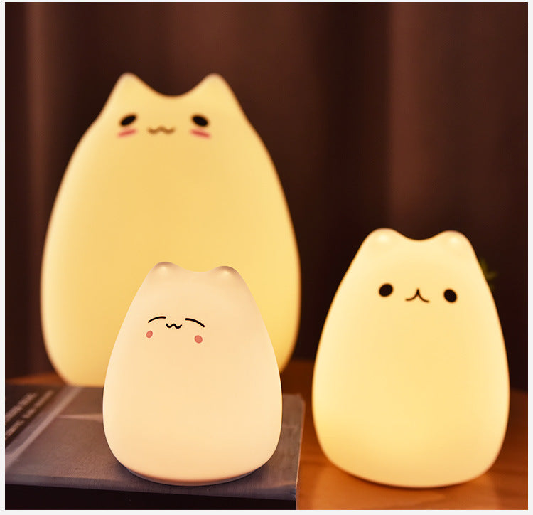 Cat 7 Colors LED USB Soft Silicone Night Light