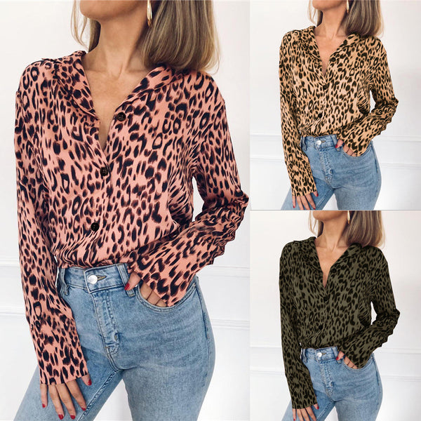 Leopard Graphic Print Single-breasted Regular Chiffon Long Sleeve Sexy Long Sleeve Chiffon Shirt Blouse