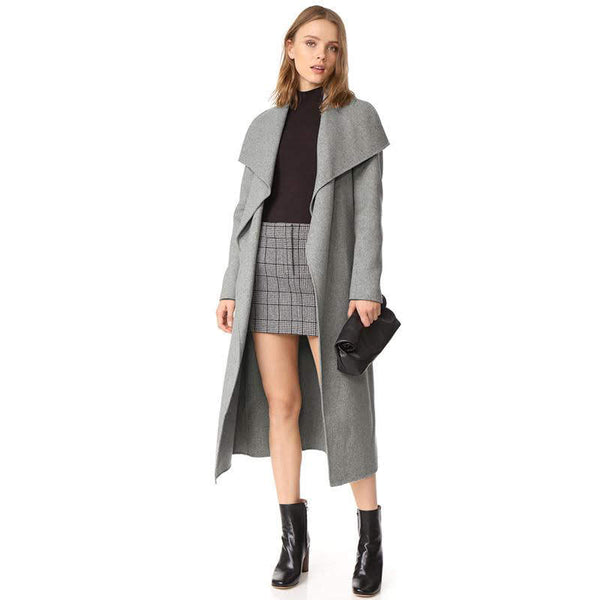 Dacron Simple Long Sleeve Regular Autumn Fashion Simple And Solid Color Waist Lacing Leisure Long Trench Coat Windbreaker