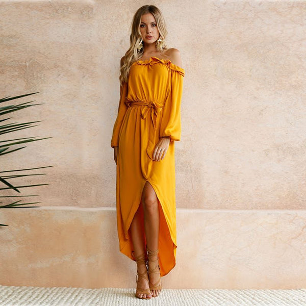 Women dress strapless dress sexy falbala slit dresses tube