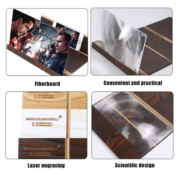 Wood Mobile Phone Screen 3D Video Screen Expander