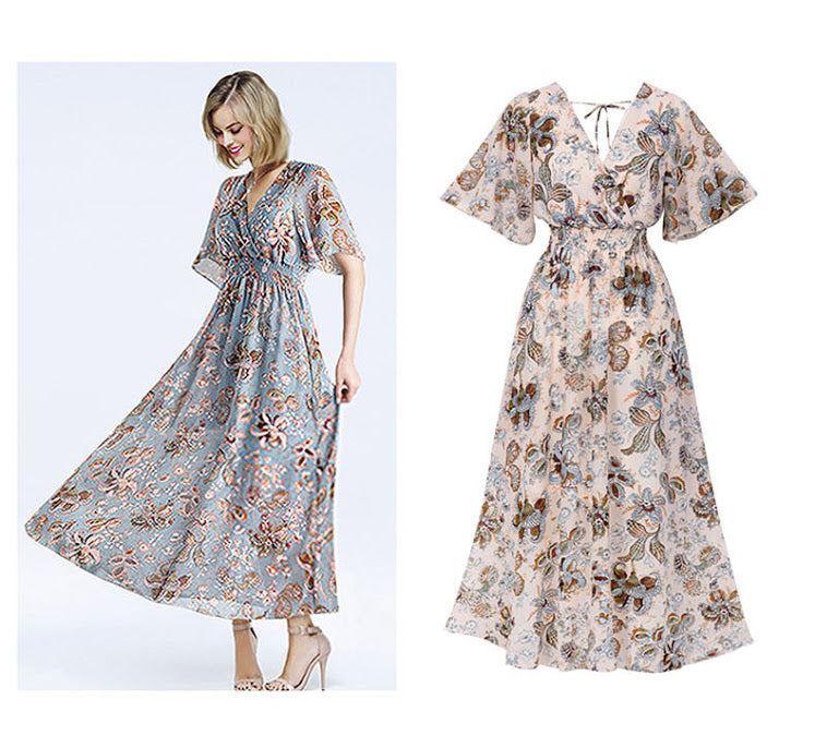 The new 2019 selling women's V-neck floral dress slim slim dress