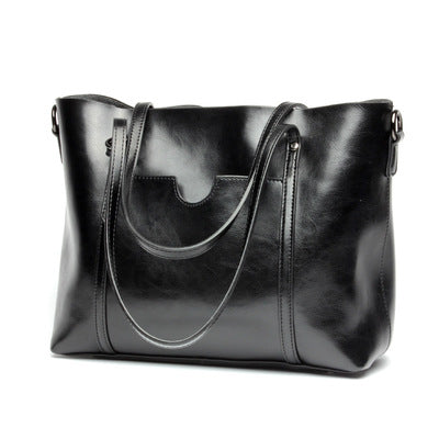 Oil Leather Tote Elegant Casual Handbag Crossbody Bags