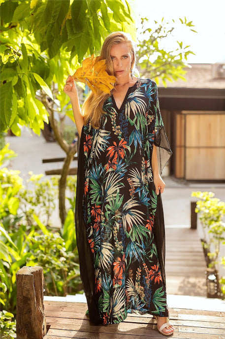 New 2019 Beach Dress V-neck Bat Sleeve Print Dress