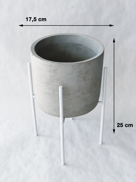Gray concrete pot on the stand