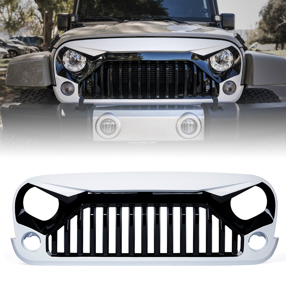 Gladiator Vader Front Painted Black White Grille for 2007-2018 Jeep Wrangler