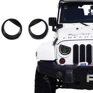 Black Angry Bird Style Headlight Bezels For 2007-2018 Jeep Wrangler