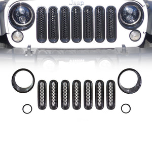 Black Headlight Bezels, Turn Signal Bezels, and Grille Insert Combo 07-18 Jeep Wrangler