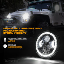 "7"" 90W CREE LED Headlights With Halo For 1997-2018 Jeep Wrangler"