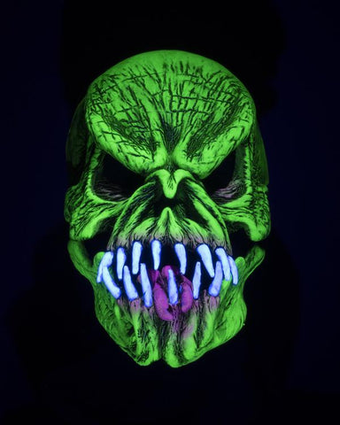 Green Glow Phissed Off Monster Mask With Moving Mouth - UV Reactive