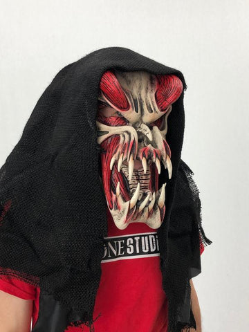 Predator, Red, Large Fanged Monster Mask With Attached Rotting Hood