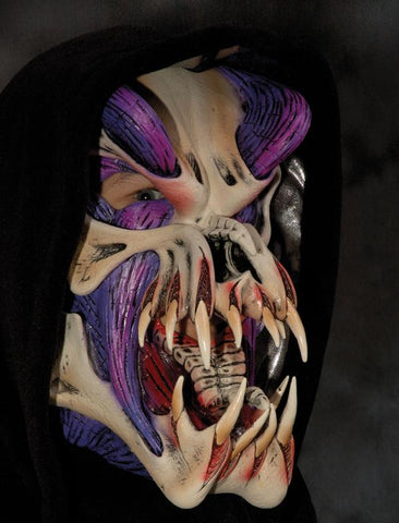 Predator, Purple, Fanged Monster Mask With Hood