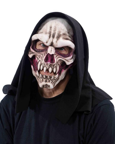 Dem Bones Skull Mask With Hood - UV Reactive