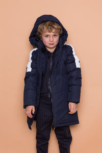 Stripe Puffer Coat - Navy