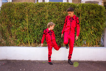 Load image into Gallery viewer, Floral Velvet Detail Trackie - Red