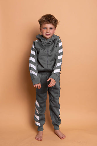 Diagonal Stripe Tracksuit - Dark Grey