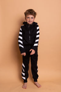 Diagonal Stripe Tracksuit - Black