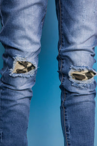 Camo Slit Denim Jeans - Blue