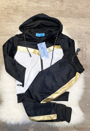 Gold Shiny Stripe Trackie - Black
