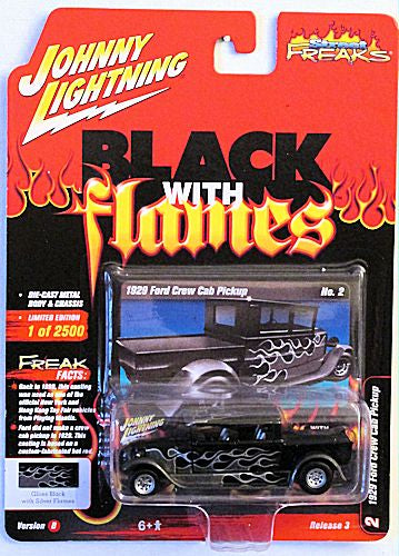1929 Ford Crew Cab Pickup (2020 Johnny Lightning - Street Freaks) Black with Flames