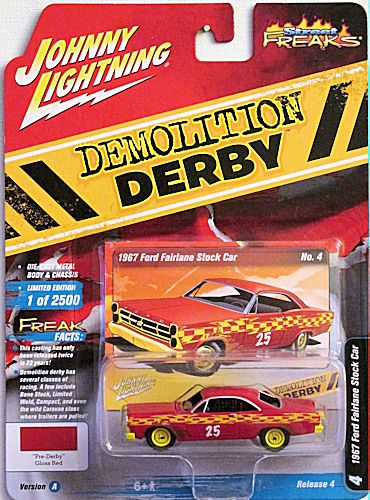 1967 Ford Fairlane Stock Car (2020 Johnny Lightning - Street Freaks) Demolition Derby