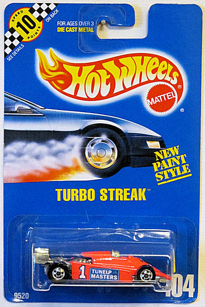 Turbo Streak (Hot Wheels Collector Number Card #104)