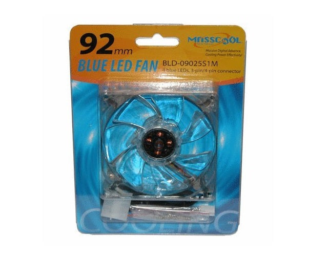 MassCool BLD-09025S1M 92mm 3&4pin 4-Blue LED Case Fan New