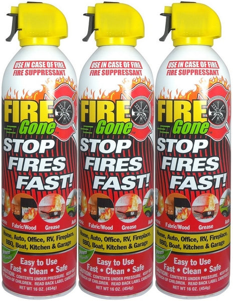3 Pack Fire Gone 2NBFG2704 White/Red Fire Extinguisher - 16 oz