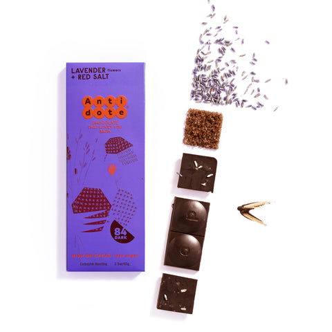 BOX OF 12 PANAKEIA: LAVENDER + RED SALT 84% Antidote Chocolate