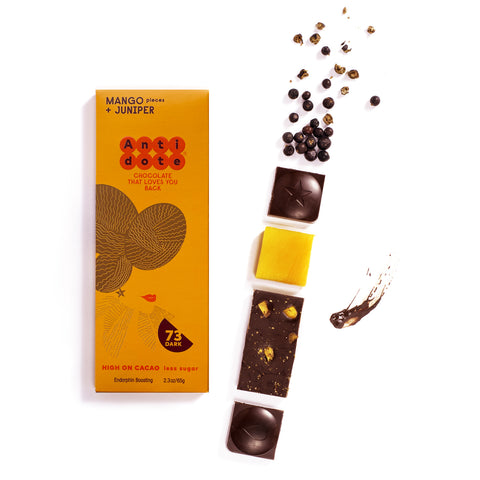 BOX OF 12 HYBRIS: MANGO + JUNIPER 73% Antidote Chocolate