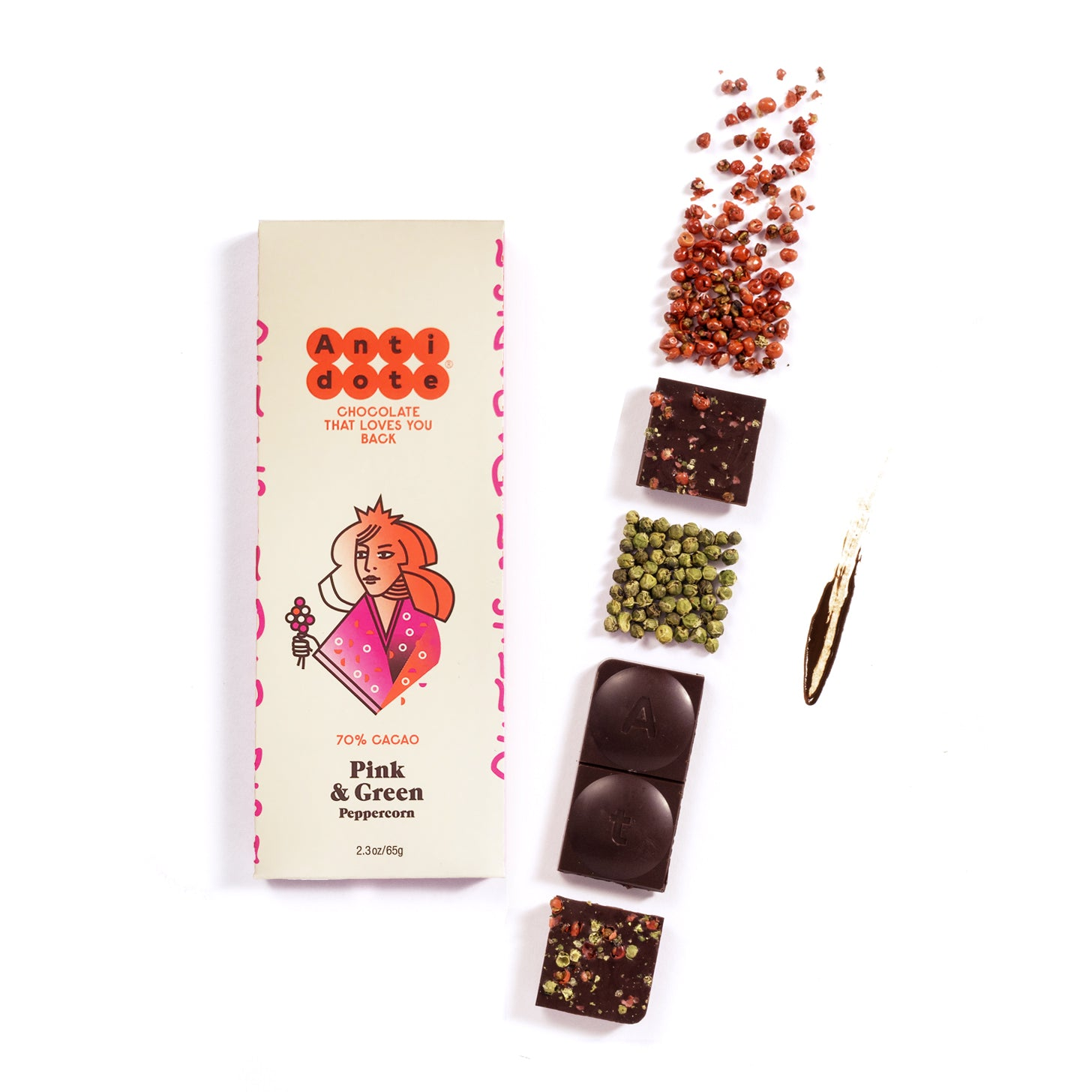 BOX OF 12 QUEEN P: PINK & GREEN PEPPERCORN 70% Antidote Chocolate