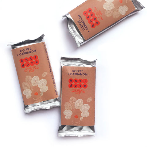 Box of 36 MINI bars: Coffee + Cardamom 73% - Antidote Chocolate