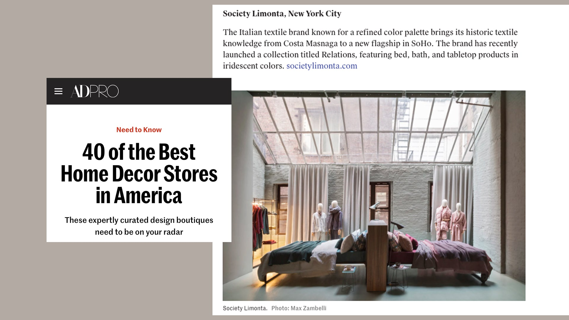 Society Limonta New York among the best home decor stores in America.