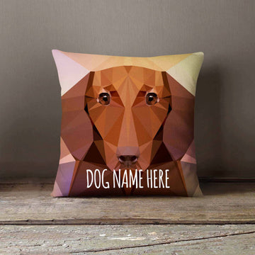 Personalized Geometric Dachshund Dog Pillowcase |