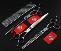 8.0 INCH Professional Premium Sharp Edge Dog PET GROOMING SCISSORS SHEARS Cutting+Curved+Thinning Scissors+Steel Comb