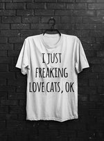 Love Cats T-shirt Men Tshirt Typography Shirt Pet