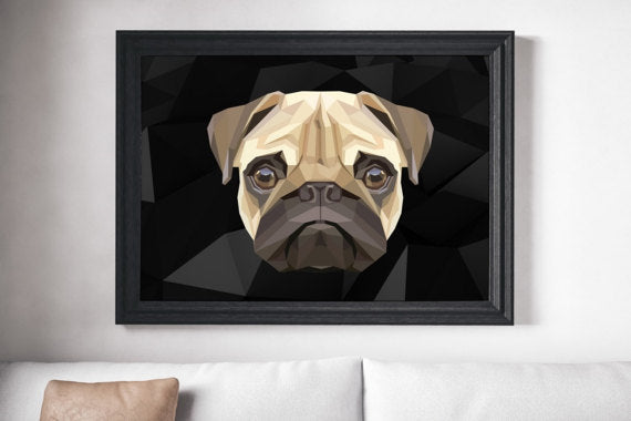Geometric Art Print Pug Canvas Animal Painting