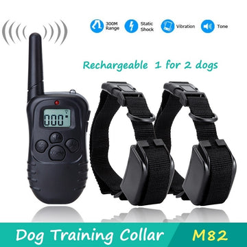Rechargeable Remote Dog Shock Vibration Training Collars for 2 dogs