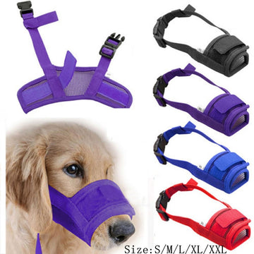 Pet Dog Adjustable Mask Bark Bite Mesh Mouth Muzzle Grooming Anti Chewing