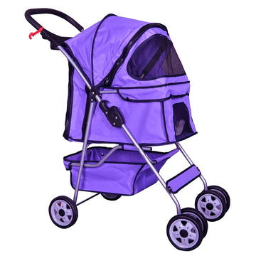 BestPet Pet Stroller Cat Dog Cage Stroller Travel Folding Carrier 04T Purple