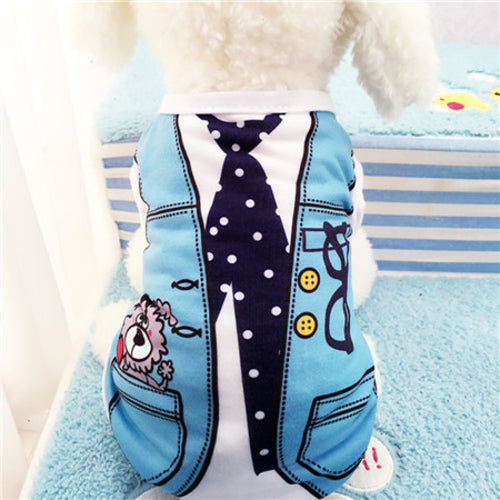 Cute Pet Cat Dog Vest Shirt Rompers Print Doggy