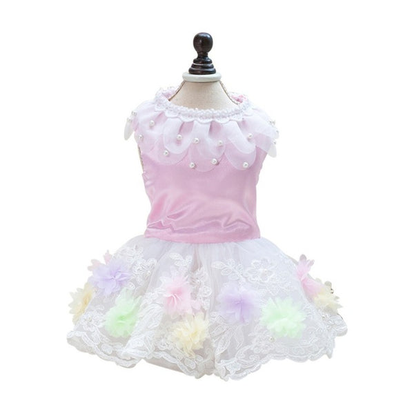 Spring Autumn Mesh Tulle Dog Dress Floral Skirt
