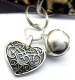 Filigree Heart & Bell Cat Collar Charm