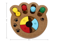 Wooden Paw Shape Treat Food IQ Training Pet Toy