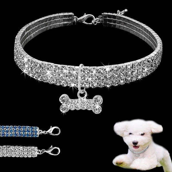 Chic Shiny Three Row Rhinestone Bone Pendant Puppy Dog Collar Pet Supply(Size:S,M,L)