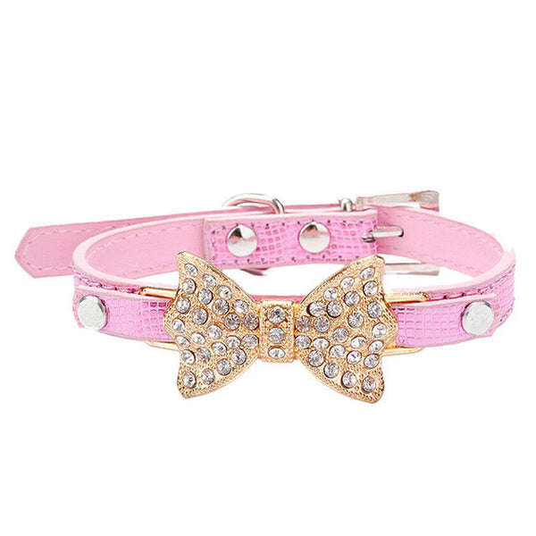 Hot Sale Dog Collars Bowknot  Bling Rhinestones Dog Collar Pets Collar Dog Neck Pet Supplies Dog Products - Collar - Molly Brands - Molly Brands