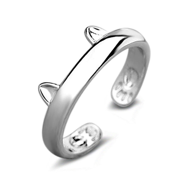 Silver Plated CAT EARS RING Thumb Wrap Ring Adjustable Pet Gift Gold -  - Molly Brands - Molly Brands