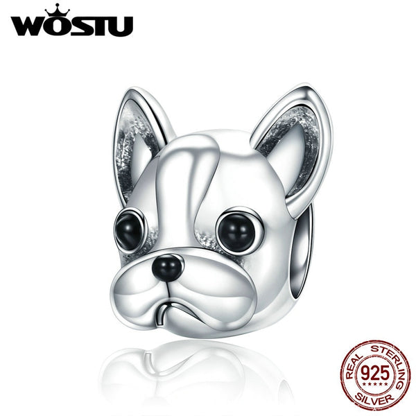 WOSTU 100% 925 Sterling Silver Cute Bulldog Pet Beads Fit WST Charm Bracelet DIY Jewelry Making Gift CQC315 -  - Molly Brands - Molly Brands