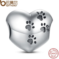 925 Sterling Silver My Sweet Pet Paw Print Charm Fit  Bracelet Necklace Heart Bead Accessories Jewelry Making PAS001