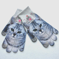 Men Women Winter Warm 3D Print Knitted Phone Screen Kitty Pet Cute Gloves - Fashion - Molly Brands - Molly Brands